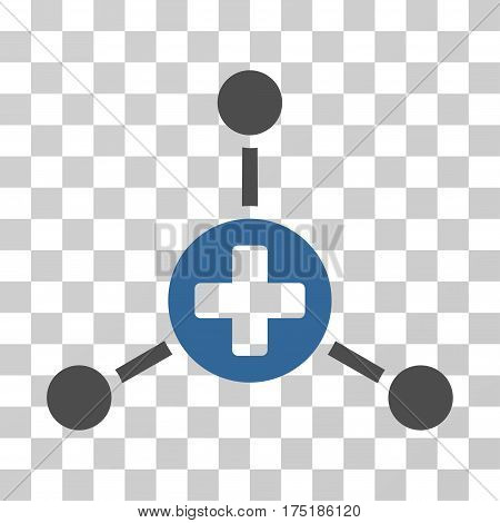 Medical Center icon. Vector illustration style is flat iconic bicolor symbol cobalt and gray colors transparent background. Designed for web and software interfaces.