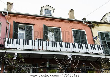 New Orleans, USA - July 8, 2015: A historic building with piano keys decoration on Royal Street in New Orleans.