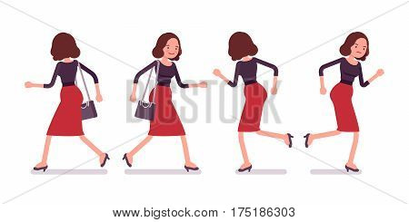 Set of young secretary in a elegant formal wear, walking and running pose, personal assistant, carrying administrative duties in a hurry, full length, front, rear view isolated, white background