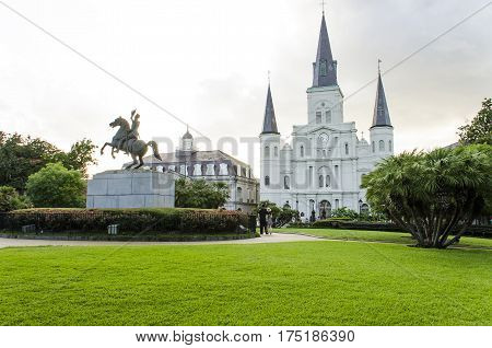 New Orleans, USA - July 8, 2015: St Louis Cathedral and Jackson Square in New Orleans at day time.