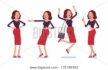 Set of young smilimg secretary in a elegant formal wear, showing positive emotions, skilled executive assistant jumping with joy, celebrating and mocking, full length, white background