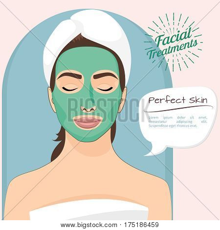 Perfect skin vector illustration. Beautiful woman with peeling green face mask for skincare and health