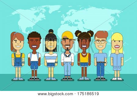 International friends group. Chinese and asian, black and european multicultural people team. Multiethnic cheerful community illustration
