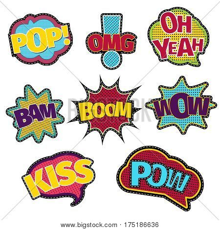 Embroidery text patches. Trendy fashion stitching sewing comic book speech bubble. Sticker badge applique in vintage style illustration