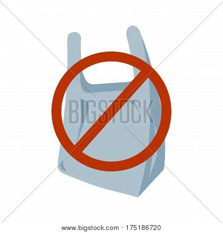 No plastic bag icon. Vector illustration flat design