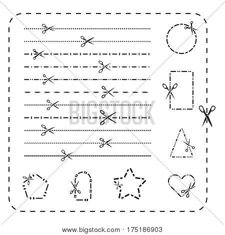 Scissors cutout line icons. Vector dashed and dotted cutting paper lines for design. Scissor cutout on dotted line illustration