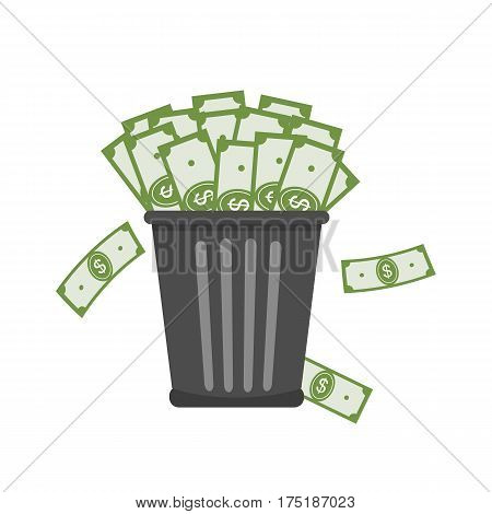 Trash full of money. Inflation concept. Vector illustration flat design