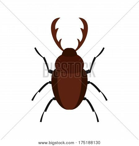 Rhinoceros beetle icon in flat style isolated on white background vector illustration