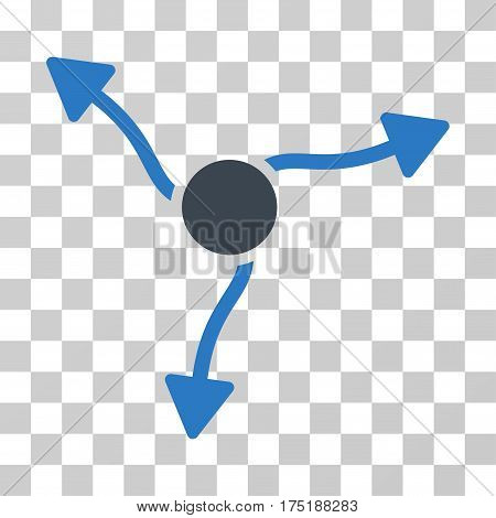 Curve Arrows icon. Vector illustration style is flat iconic bicolor symbol smooth blue colors transparent background. Designed for web and software interfaces.