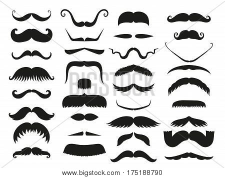 Silhouette vector black white mustache hair hipster curly collection beard barber and gentleman symbol fashion adult human facial gave vector illustration. Cartoon person mask variation design.