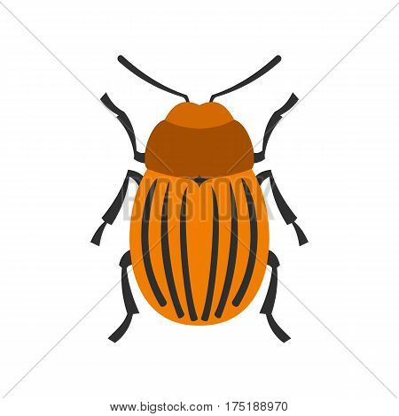 Colorado beetle icon in flat style isolated on white background vector illustration