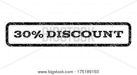 30 Percent Discount watermark stamp. Text tag inside rounded rectangle frame with grunge design style. Rubber seal stamp with unclean texture. Vector black ink imprint on a white background.