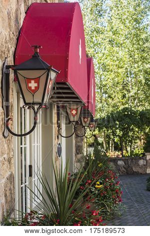 Row of Lanterns or Lamps on a building with Swiss Decorations in Vail, Colorado