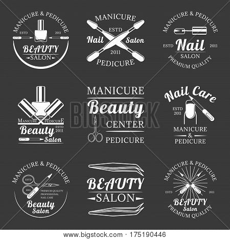 Set of manicure and pedicure, beauty salon, nail care salon monochrome vector labels, emblems and logos isolated on white background
