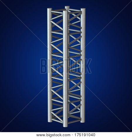 Steel truss girder element. 3d render on blue