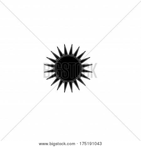 The sun black sign on white background. Black solar mark. Bright sunny icon good mood. Isolated logo spring summer. Symbol hot warm sunlight. Flat vector image. Vector illustration.
