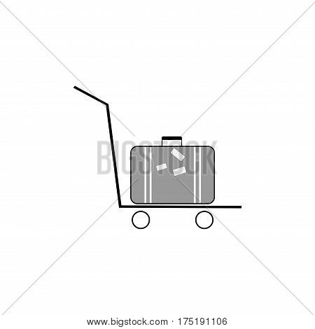 Trolley luggage for suitcase icon on white background. Baggage bag briefcase symbol vacation travel and tourism. Template for postersign. Flat vector image. Vector illustration.