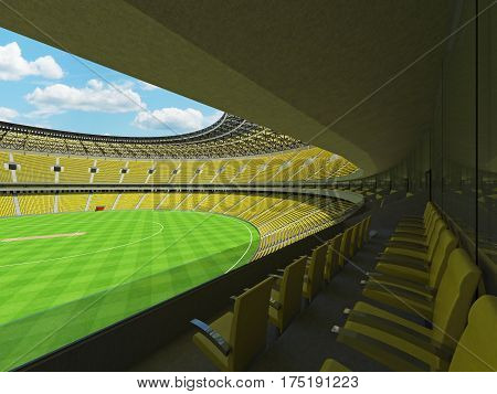 3D Render Of A Round Cricket Stadium With Bright Yellow  Seats And Vip Boxes