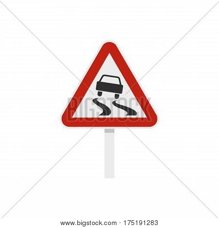 Slippery when wet road sign icon in flat style isolated on white background vector illustration