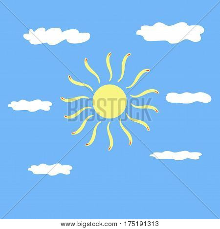 The sun sign on blue background. Yellow solar mark. Bright sunny icon good mood. Isolated logo spring summer. Symbol hot warm sunlight and good weather. Flat vector image. Vector illustration.