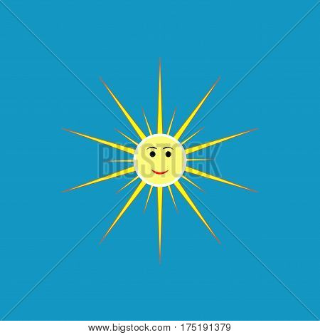 The sun sign on blue background. Orange solar mark. Bright sunny icon good mood. Isolated logo spring summer. Symbol hot warm sunlight and good weather. Flat vector image. Vector illustration.