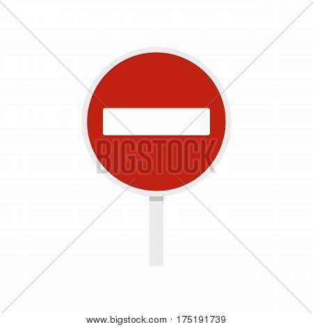 No entry traffic sign icon in flat style isolated on white background vector illustration