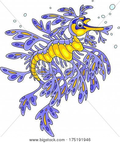 Vector illustration of an exotic leafy sea dragon