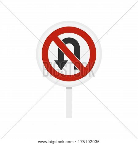 No U turn traffic sign icon in flat style isolated on white background vector illustration