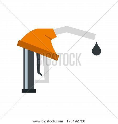 Orange gasoline pump nozzle icon in flat style isolated on white background vector illustration