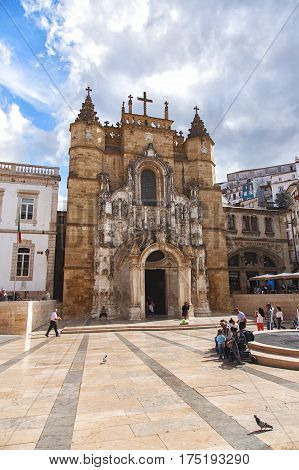 COIMBRA, PORTUGAL - September 26, 2013: The Santa Cruz Monastery Monastery of the Holy Cross is a National Monument in Coimbra Portugal