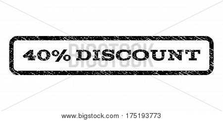 40 Percent Discount watermark stamp. Text tag inside rounded rectangle with grunge design style. Rubber seal stamp with unclean texture. Vector black ink imprint on a white background.