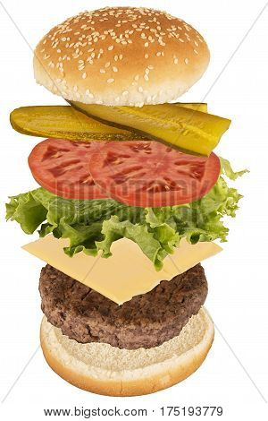 Flying burger ingredients isolated on white background.