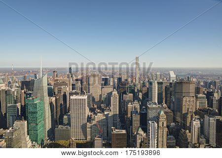 New York city skyline in the morning.