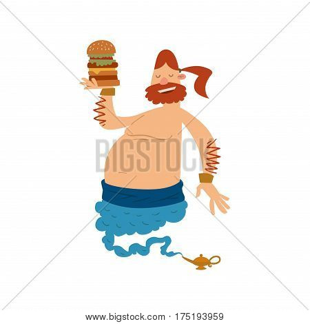 Cartoon fat boy genie with large hamburger coming out of a magic lamp flat vector illustration. Vector Cartoon fatboy djinn and magic lamp. Character fat boy djinn