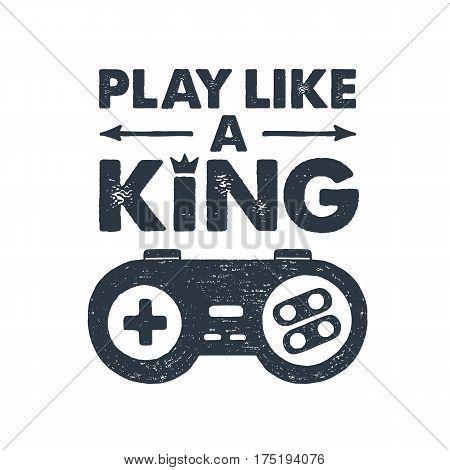 Hand drawn 90s themed badge with gamepad textured vector illustration and