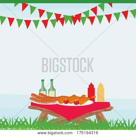 Barbecue Party Invitation poster card  , vector illustration