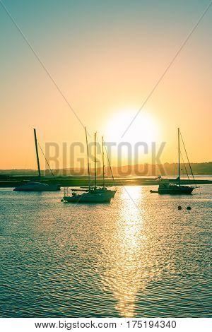 Sunset over waterfront alvor western algarve portugal Alvor - Algarve Portugal.