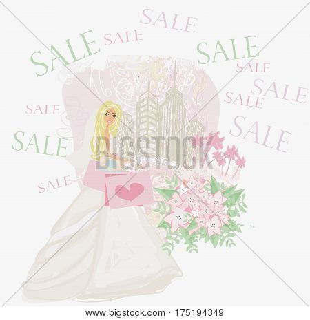 Happy bride shopping - card , vector illustration