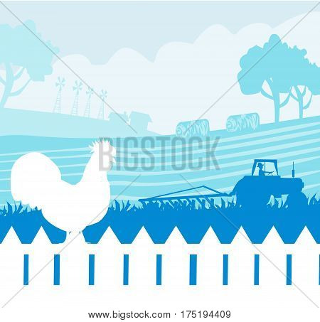 Rural landscape with roster and tractor , vector illustration