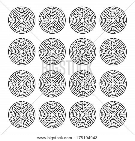 Circle Maze Set. Labyrinth with Entry and Exit. Transportation and Logistics Concept. Vector Illustration.