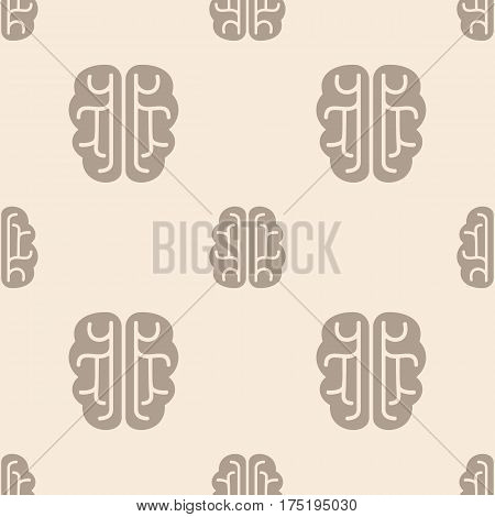 Brain vector icon seamless pattern, tiling ornament. Vector background.