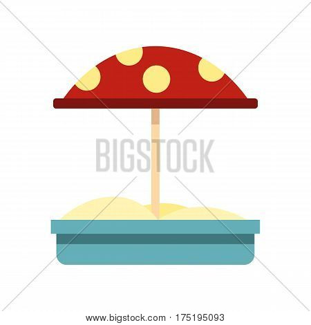 Sandbox with red dotted umbrella icon in flat style isolated on white background vector illustration