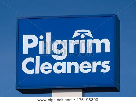 MINNEAPOLIS MN/USA - MARCH 4 2017: Pilgrim Cleaners retail exterior sign and logo. Pilgrim Cleaners is and American dry cleaning & laundry services company.