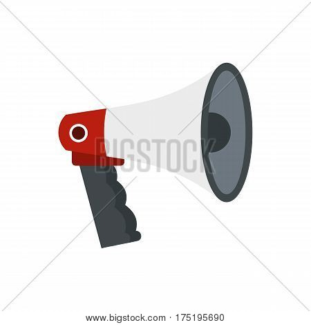 Red and white bullhorn public megaphone icon in flat style isolated on white background vector illustration