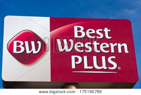 MINNEAPOLIS MN/USA - MARCH 4 2017: Best Western Plus exterior sign and logo. Best Western Hotels & Resorts operates hotels and motels world-wide.