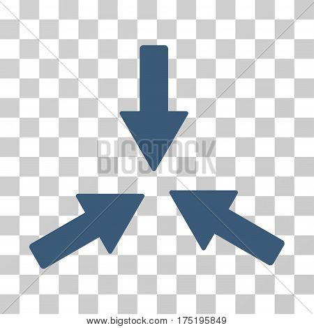 Collide 3 Arrows icon. Vector illustration style is flat iconic symbol blue color transparent background. Designed for web and software interfaces.