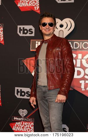 LOS ANGELES - MAR 5:  Jeremy Renner at the 2017 iHeart Music Awards at Forum on March 5, 2017 in Los Angeles, CA