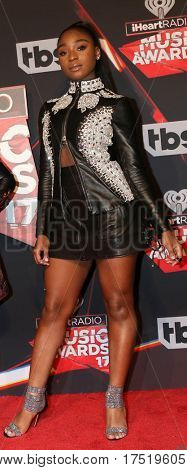 LOS ANGELES - MAR 5:  Normani Kordei Hamilton at the 2017 iHeart Music Awards at Forum on March 5, 2017 in Los Angeles, CA