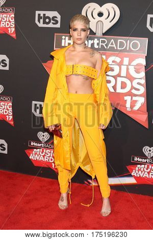 LOS ANGELES - MAR 5:  Halsey, aka Ashley Nicolette Frangipane at the 2017 iHeart Music Awards at Forum on March 5, 2017 in Los Angeles, CA