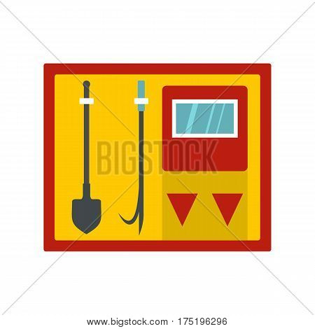 Flat illustration of fire shield with fire extinguishing tool vector icon in flat style isolated on white background vector illustration